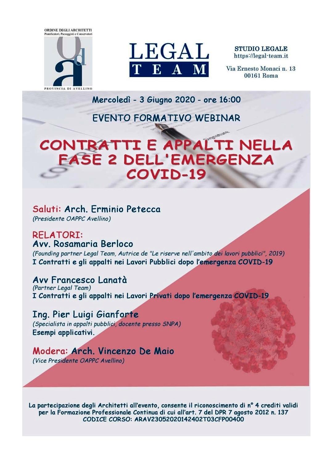 Ordine Architetti Brescia Lavoro contratti e appalti nella fase 2 dell'emergenza covid-19