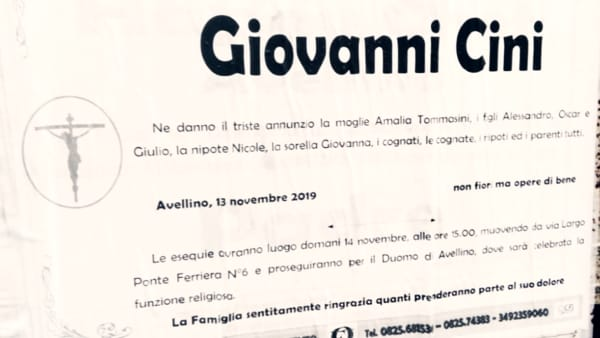 "Avellino è in lutto: è morto ""Giovanni la misericordia"""